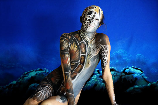 Sea Turtle Bodypaint Model
